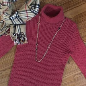 Anne Klein Sport Cable Knit Turtleneck Sweater M